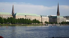 Hamburg waterfront in City Center with Binnenalster Lake Stock Footage