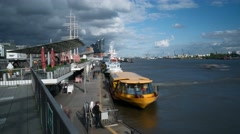 Hamburg jetty Landungsbruecken at River Elbe Stock Footage