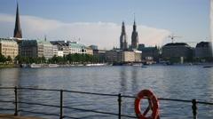 Hamburg City Center Binnenalster lake in sunshine Stock Footage