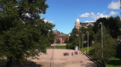 Temple of red brick in Helsinki. Finland. - stock footage