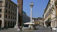 Vicenza - Piazza dei Signori, Unesco heritage for the palladian architecture - stock footage