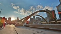 Toronto Sign Time Lapse with Sky and Sun Flare Stock Footage