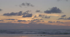 Sunset on piha beach, Auckland, New Zealand Stock Footage