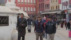 Crowds circling stupa ,Kathmandu,Boudhanath,Nepal Stock Footage