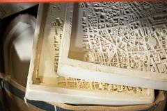 Plaster Molds for 3D City Map Scale Models - stock photo