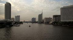 4K: Day to night, Boats traffic on Chao Phraya river in Bangkok Stock Footage