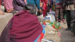 People waiting for buying petrol,Kathmandu,Swayambhunath,Nepal Stock Footage