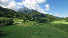 Beautiful green fields and mountain.Kranjska Gora.Slovenia Stock Footage