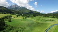 Beautiful green fields and mountain.Kranjska Gora.Slovenia Stock Footage