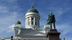 The Lutheran Cathedral on Senate Square, Helsinki. Stock Footage