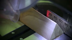 Circular saw cutting wood in carpenter workshop Stock Footage