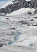 Athabasca Glacier with Columbia Icefield - stock photo
