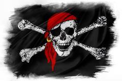 Pirate flag on plain background Stock Illustration