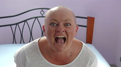 Insane woman. Mad cancer patient. Funny Stock Footage