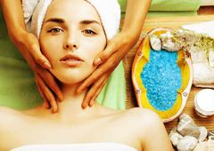 Stock photo attractive lady getting spa treatment in salon, close up asian hands Stock Photos
