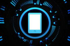 Cellphone blue icon in the technology space - stock illustration