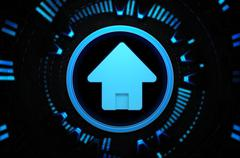 Homepage blue icon in the technology space Stock Illustration