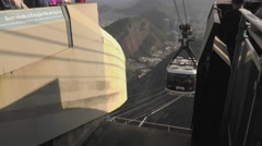 Cable Car Arrival Onto Sugarloaf Mountain Summit Stock Footage