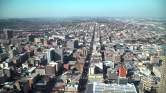 High angle view over downtown Johannesburg, South Africa - stock footage