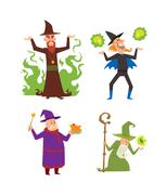 Magicians and wizards illusion show old man character vector - stock illustration