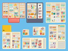 Open refrigerator products vector set - stock illustration