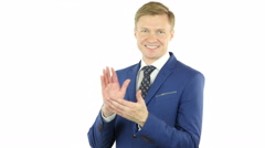Clapping Gesture of businessman,Applauding,  isolated on white background - stock footage