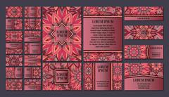 Big templates set. Business cards, invitations and banners. Floral mandala pa - stock illustration