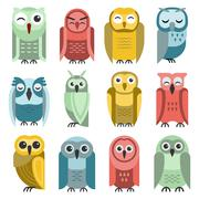 Cartoon owl vector set - stock illustration
