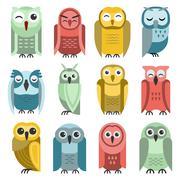 Cartoon owl vector set Stock Illustration