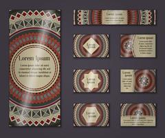 Vector vintage business and invitation card set. Floral mandala pattern and o - stock illustration