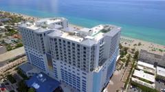 Margaritaville Hollywood Beach Resort aerial flyover Stock Footage