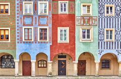 Colorful houses on Poznan Old Market Square. - stock photo