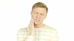 young man feels toothache, isolated on White Background - stock footage