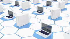 4k Row Of laptop & Network computer ervers on the tech hexagon background. Stock Footage