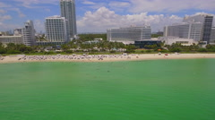 Aerial: Fontainebleau Hotel Miami Beach Stock Footage