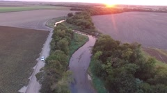 Aerial footage of crop fields in western Kansas during the evening.  Stock Footage