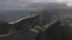 Extended Shot of Rio, Copacabana and Cable Car from Sugarloaf Mountain Stock Footage