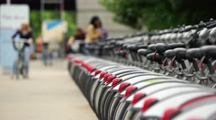 Large number of parked bicycle for rent in the city, public transportation 4K Stock Footage