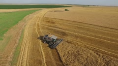 Gleaner Combine Aerial Shot - Drone Stock Footage