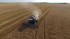 Gleaner Combine Pan Across - Drone Stock Footage