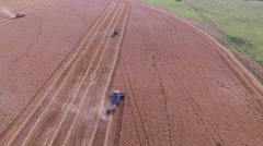 Gleaner Combine Wide Aerial Shot - Drone Stock Footage