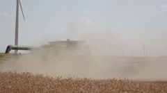 Wheat Harvest John Deere Combine  Stock Footage