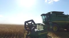 Wheat Harvest John Deere Combine Close Up Stock Footage
