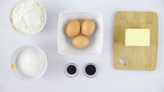 Zoom-in to baking ingredients on table 4K Stock Footage