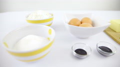 Table view with baking ingredients sliding over 4K Stock Footage