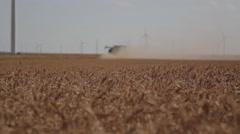 Wheat Harvest John Deere Combine Ground Shot  Stock Footage