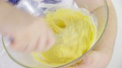 Mixing baking dough closeup 4K Stock Footage