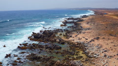 Aerial from the wild east coast on Aruba island in the Caribbean Sea - stock footage