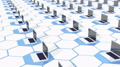 4k Row Of laptop on the abstract tech hexagon background,honeycomb. Stock Footage