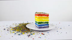 Rainbow cake piece on plate with crumbs around 4K Stock Footage